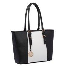 Miss Lulu Women Handbag Stripe Shoulder Bag PU Leather Tote