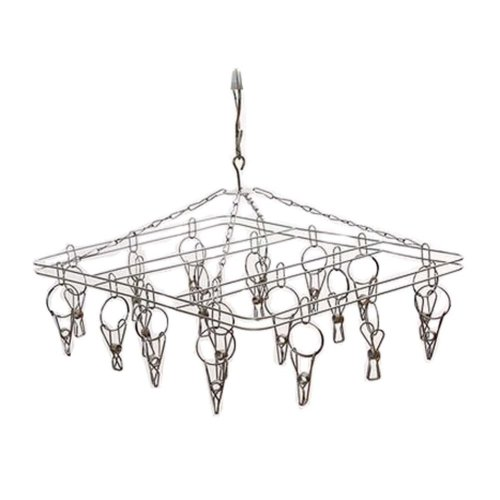 Practical Stainless Steel With Clip Drying Rack/Child Hangers, Square