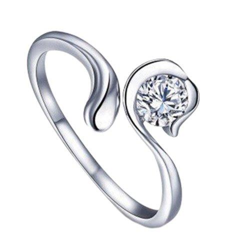 Silver Plated Star Sign Virgo Ring Size P 1/2 (UK) Adjustable Open Zodiac Rhinestone Thumb Ladies Wrap