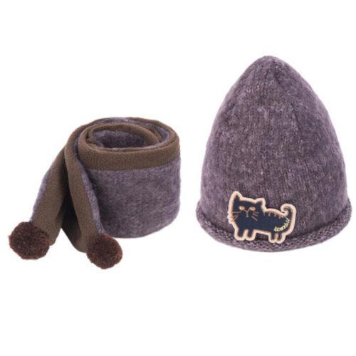 Kids Boys Girls Keep Warm Head Cap Lovely Hats Winter Wool Hat & Scarf -A3