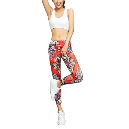 Beautiful Printing Sports Running Fitness Trousers Yoga Pants for Women, #03