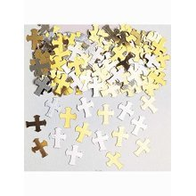 Crosses Gold & Silver Metaliic Confetti 14g -