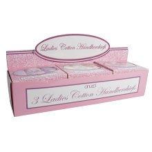 Hankies - Ladies 3 Pack Boxed In Cdu - Floral Soft Pastel Handkerchief Gift Set -  ladies 3 floral soft pastel handkerchief boxed gift set colours