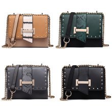 Miss Lulu Women Crossbody Bag Shoulder Bags PU Leather Rivet Girls Chain Messenger Bag