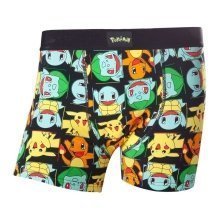 Pokemon Adult Male Pikachu and Friends All-Over Pattern Boxer Short L Size - Black