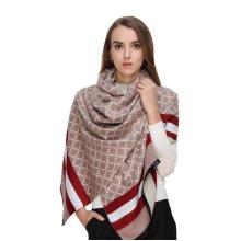 LYZA Women Reversible Shawl Plaid Printing Scarves  Skin-Friendly Fleece Winter Warm Cape