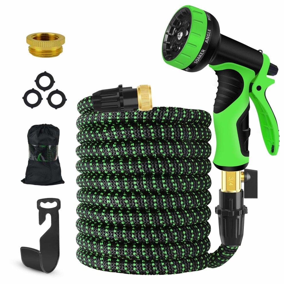 Hose Spray Nozzle >> Expandable Garden Hose 75 Ft Upgraded Flexible Water Hose With 9 High Pressure Spray Nozzle Solid Brass Connector Fittings No Rust Leak Extra