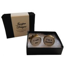 """Handcrafted """"Trust Me I'm a Doctor"""" Cuff links - Excellent Valentine's Day, Christmas, thank you or birthday gift"""