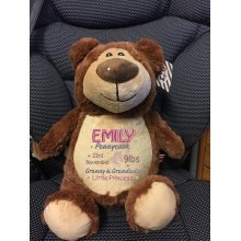 Soft Brown Teddy Bear - Personalised Embroidered Name or Birth Date