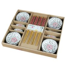 Wedding Business Gift Home Flatware Set Chopsticks/Holder/Dish 12PCS-Red