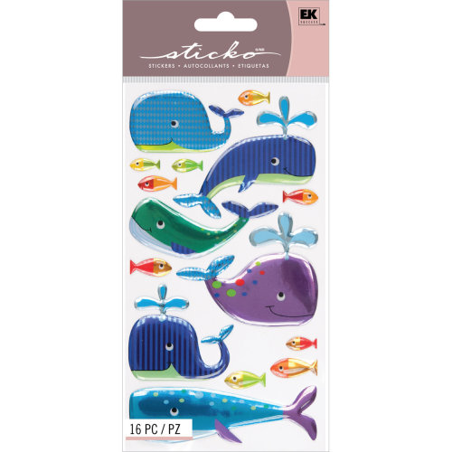 Sticko Dimensional Stickers-Happy Whales