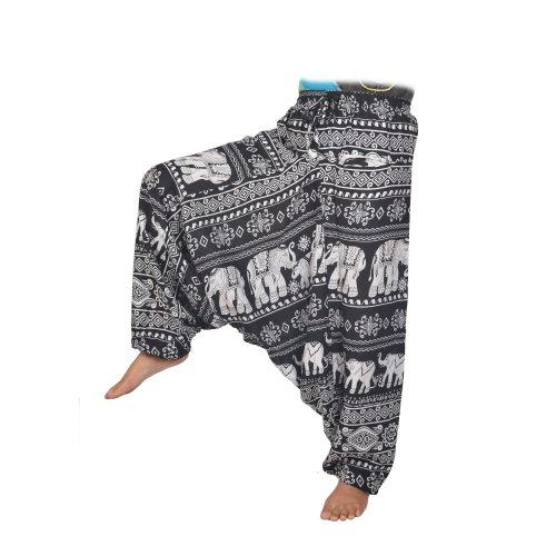 Elephant Printed Smocked Waist Women's Summer Baggy Trouser