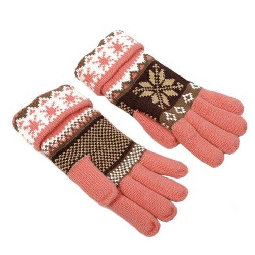 Women's Winter/fall Warm Lovely Snow Knitting Finger Gloves,Pink