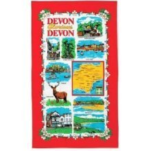 Devon Glorious Devon Tea Towel Souvenir Gift Map Torquay Exmoor Stag Ilfracombe