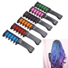 6 Colors Hair Dye Comb Brush Temporary Chalk Powder Dyeing Tool