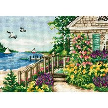 Dimensions Counted Cross Stitch Kit, Bayside Cottage - Gold Kit Petite Kit7x5 18 -  cross stitch counted bayside cottage dimensions gold kit petite