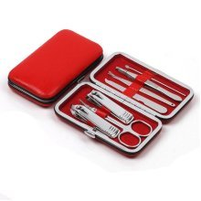 [RED] GOOOD 7 PCS Embossing  Manicure/Pedicure Kits Nail Care Personal Set