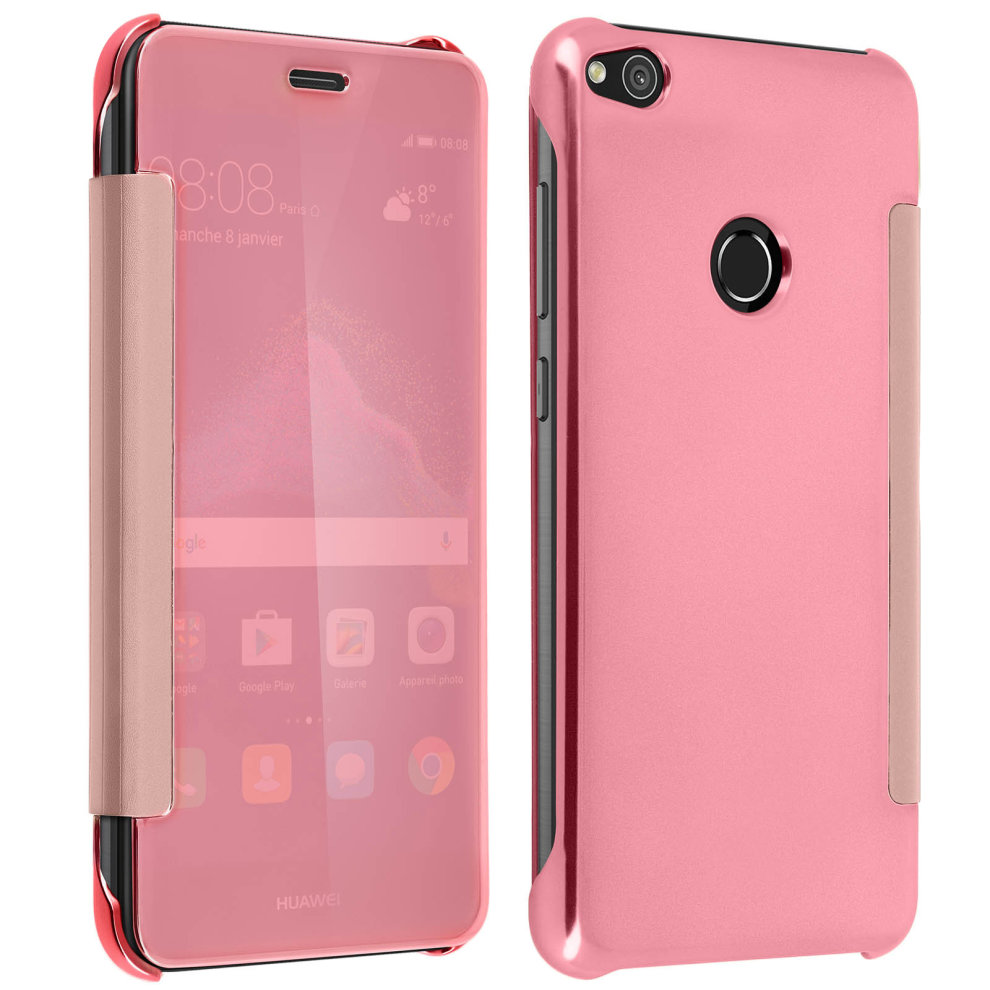 sale retailer 6e29f c4902 Flip Case, Mirror Case for Huawei P8 Lite 2017, see through front flip –  Pink