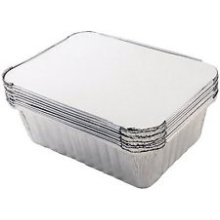 Silver 20cm x 11cm x 5.5cm Pack Of 10 Tala Foil Container With Lids - x Tala -  x tala foil 10 20 11 55 cm container lids pack silver containers set