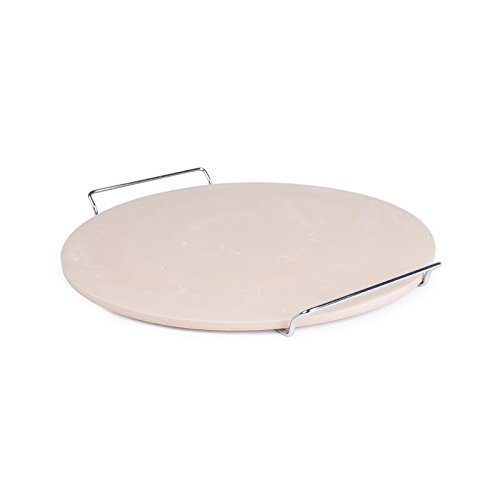 Non Branded Cl714 Round Pizza Stone With Metal Serving Rack -  pizza stone round metal serving rack