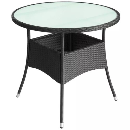 vidaXL Outdoor Table Poly Rattan 60x74 cm Black
