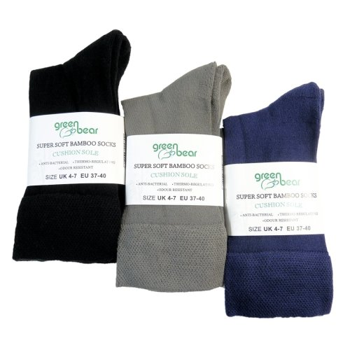 Ladies Bamboo socks - Unique Double Sole (3 multi colour pack) - Luxurious soft & antibacterial bamboo (4-7)