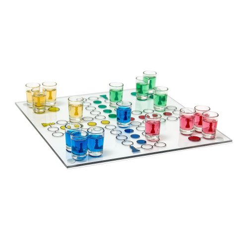 Relaxdays Drinking Boardgame Parcheesi for 2 - 4 Players, Board Size: 30 x 30 with 16 Shot Glasses and 2 Dice, Fun Party Board Game