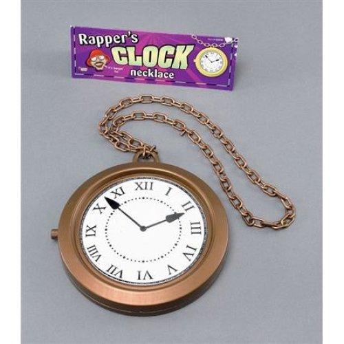Bronze Jumbo Medallion Clock - Fancy Dress Rapper Accessory White Rabbit Plastic -  clock medallion fancy dress jumbo rapper accessory white rabbit