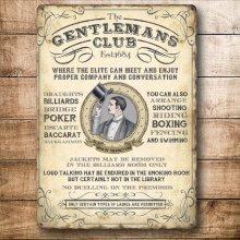 The Gentlemen's Club -  Colourful Metal Dangler - Mini Hanging Sign