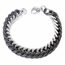 Urban Male Two Colour Stainless Steel Double Curb Link Chain Bracelet