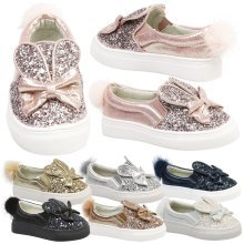Girls' Glitter Bunny Slip-On Plimsolls | Sparkly Pom-Pom Trainers