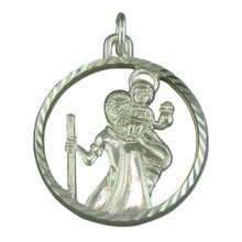 Mens Sterling Silver Round Cut out St Christopher Pendant On A Black Leather Cord Necklace