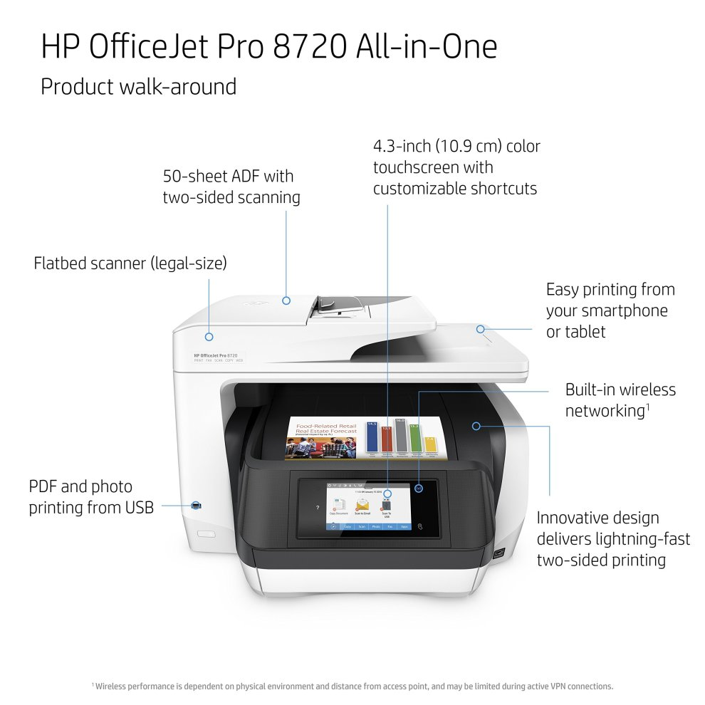 HP OfficeJet Pro 8720 All-in-One Printer, Instant Ink Compatible ...