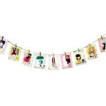 Wall Decor Paper Photo Frame with Mini Wooden Clips & Hemp Rope, CARTOON