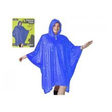 Adult Waterproof Poncho With Hood Blue Design Festival Camping Raincoat -  adult poncho waterproof raincoat reusable hood camping festival  blue