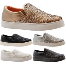 Women Flats Plimsolls Sneakers Bow Skater Trainers
