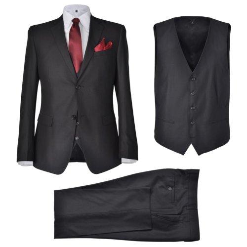 vidaXL 3 Piece Men's Business Suit Size 54 Black Blazer Waistcoat Trousers