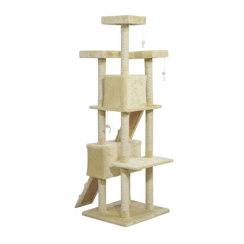 Pawhut Cat Activity Centre Sisal Kitten Tree Scratcher Climbing Tree Multi Level 181cm(h)