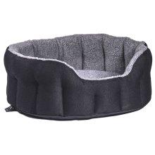 Premium Heavy Duty Oval Drop Front Softee Bed Basketweave Black/grey Size 5