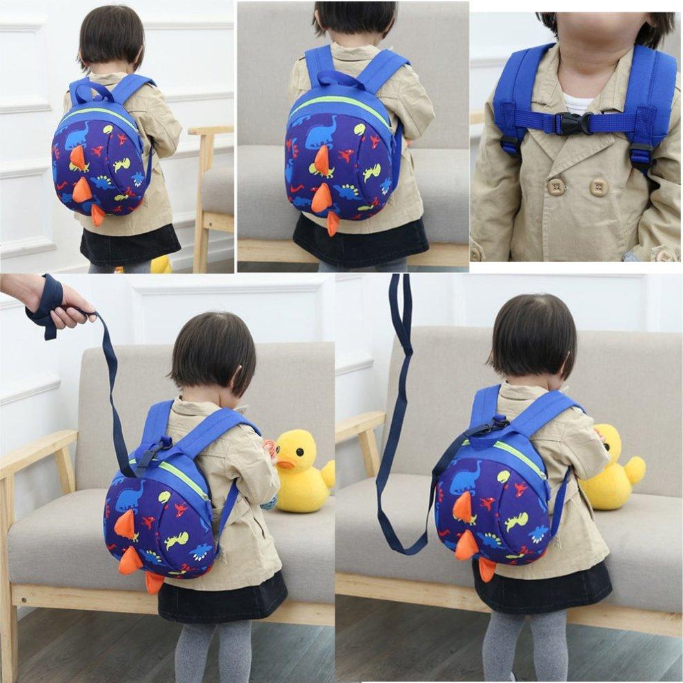 DafenQ Cute 3D Cartoon Baby Toddlers Backpack Nursery Kindergarten Book Bag  Kids Harness Bag with Safety Reins Belt for Boys Girls (Green)