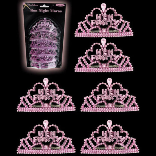 Alandra Mini Tiaras - 6 Pack - Hen Night Party Pink Tiara Miss Behave Bride -  hen night party mini pink tiara miss behave bride accessory hot