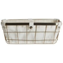 Iron Wire Storage Basket with Liner, Gold