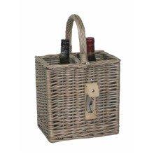 Antique Wash Finish 2 Wine Bottle Drinks Basket