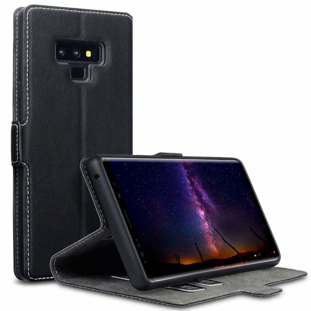 more photos 78ce2 05a1b TERRAPIN Samsung Note 9 Case Samsung Galaxy Note 9 Leather Case Wallet Flip  Cover - Ultra Slim Fit - Viewing Stand - Card Slots - Black