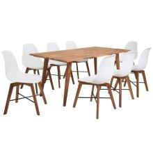 vidaXL Nine Piece Solid Acacia Wooden Dining Set White