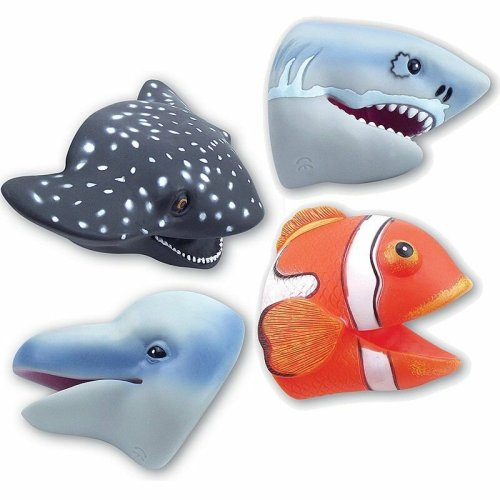 Set of 4 Ocean Sealife Rubbery Hand Puppets - Ray, Shark, Dolphin & Clownfish