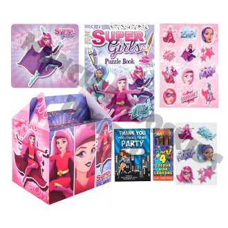 Pre-Filled Superhero Party Box   Kids' Pink Superhero Party Gift Box