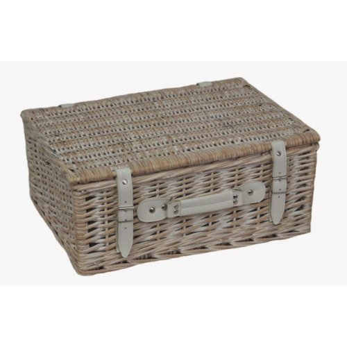 White Wash Picnic Basket | Empty Picnic Basket