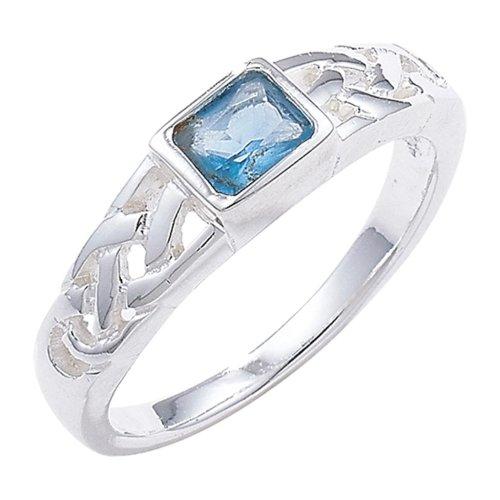Sterling Silver Blue Topaz Celtic Ring