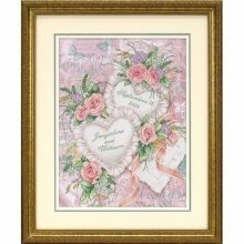 D03217 - Dimensions Stamped X Stitch - Wedding Record: Two Hearts